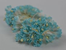 100 TURQUOISE WHITE GYPSOPHILA on THREAD Mulberry Paper